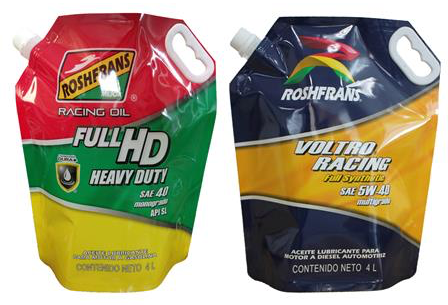 motor oil in spouted stand up pouch