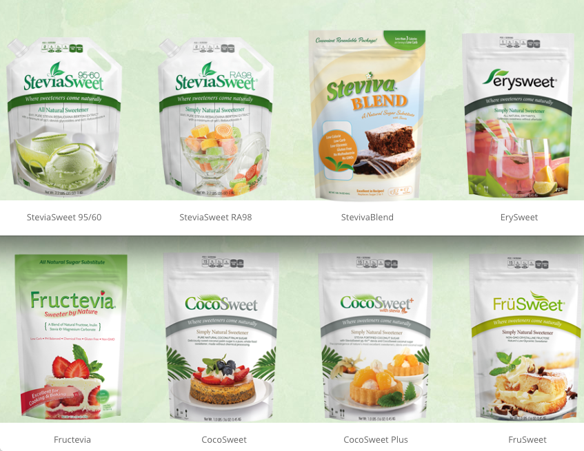 Steviva Dry Food Packaging in Custom Printed Pouches