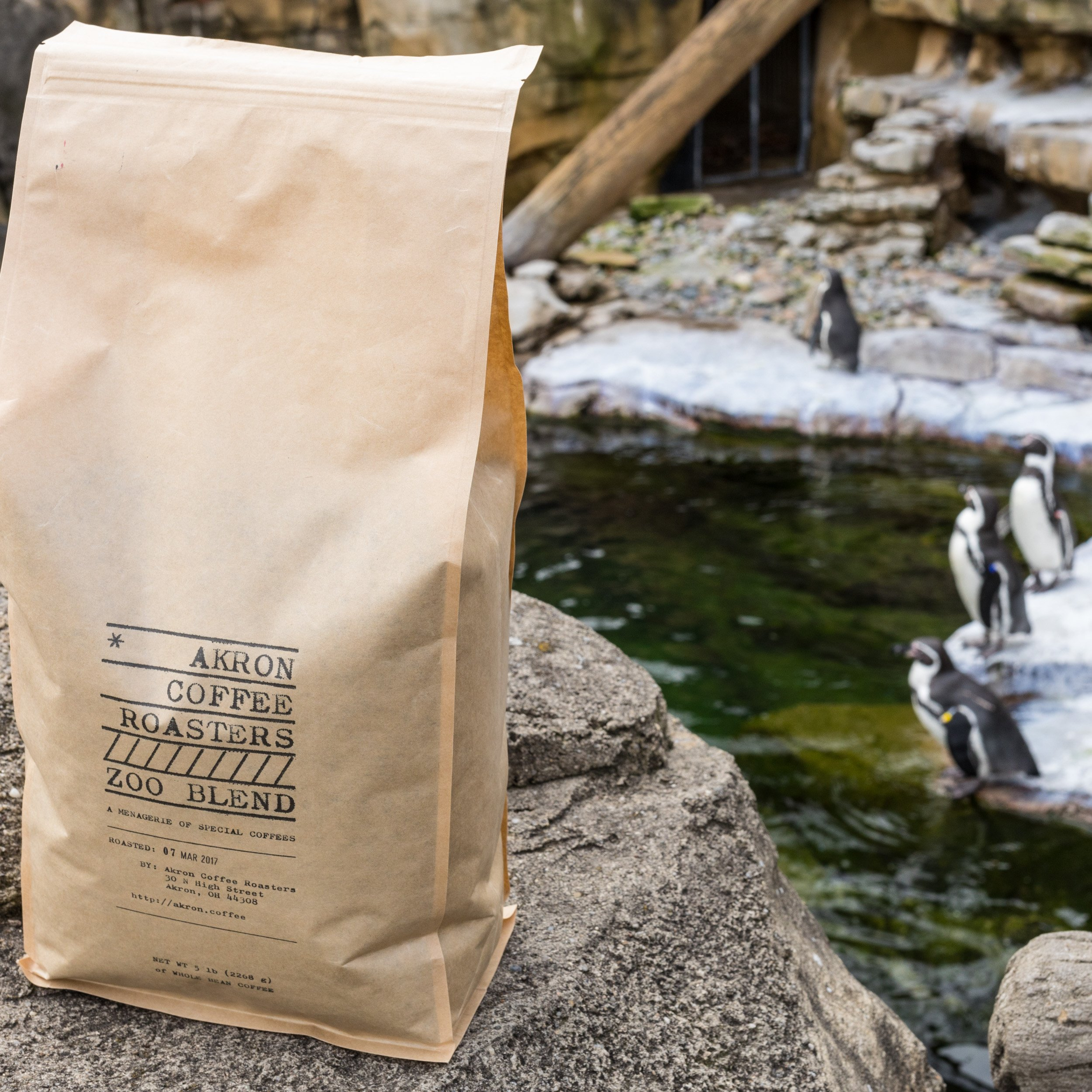 Akron Coffee Roasters coffee packaging in stand up pouch